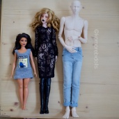 Curvy Barbie, Bimong shahti, and Dollshe 44cm Arsene/Mystic (note that standard 1/4 jeans are out of scale on this guy)